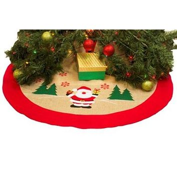"Burlap 36"" Festive Christmas Tree Skirt - 48 Units"
