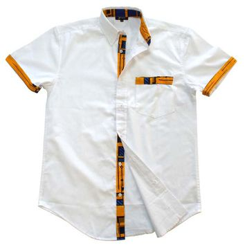 Dami Button-Up African Print Trim Shirt (Yellow/Blue)