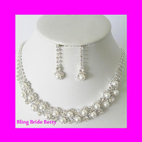 White Pearl Bridal Necklace Earring Set W Rhinestones Evening Silver Tone