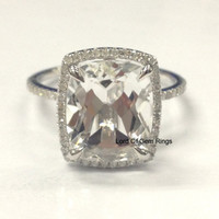 Cushion White Topaz Engagement Ring Pave Diamond Wedding 14K White Gold 10x12mm