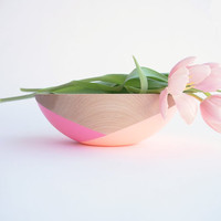 """Mother's Day Collection: 10"""" Wooden Beech Bowl , Pink and Peach half crossed by Willful, house warming gift, hostess gift"""