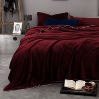Home decor soft solid warm plush fleece blanket room bedroom rug sofa bedding throw