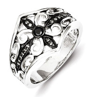 Sterling Silver White & Black Diamond Black Rhodium-Plated Ring