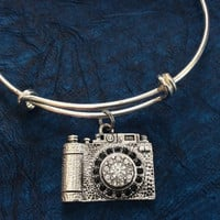Silver Crystal Camera Expandable Charm Bracelet Adjustable Wire Bangle Photography Handmade Trendy