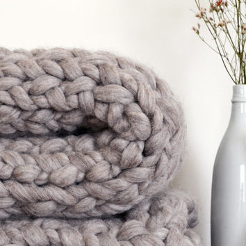 super chunky knit throw blanket gray wool