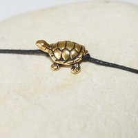 Turtle Wish Bracelet or Anklet in Antique Gold Plated Pewter