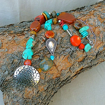 Tribal Southwestern Necklace Turquoise Necklace, Karen Hill Tribe silver statement necklace chunky necklace tribal necklace modern turquoise