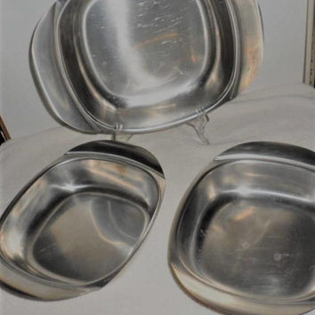 1960s Cultura 18-8 Stainless Steel Sweden Serving Dishes/Trio of Stainless Steel Serving Dishes/Used Stainless Steel Sweden Serving Dishes