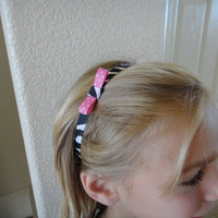 Ribbon Headband Child or Teen Zebra Pink Polka Dots