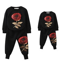 New Spring Family Matching Outfits Mother And Daughter Long Sleeve Rose Floral Sweatshirt+Pants Suit