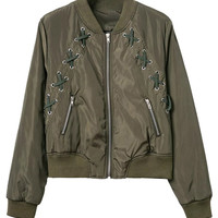 Military Green Lace Up Detail Bomber Jacket