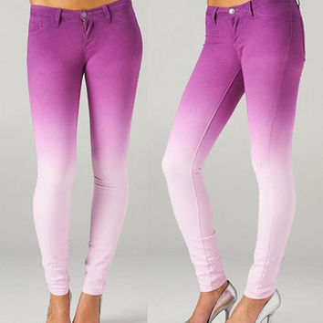 NWT GRAPE PURPLE OMBRE WHITE SOFT STRETCH Skinny Pencil Jeans Denim Pants