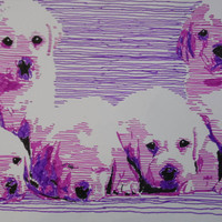 Hand-made pop art illustration: Labrador puppies, original image, autographed, unique, free shipping