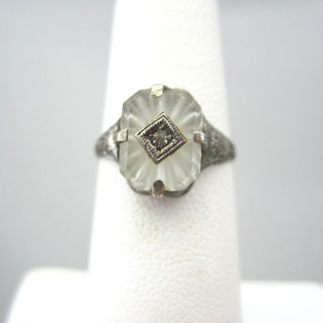 Antique Camphor Glass Art Deco Ring - Sterling Silver