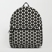 Black and White Hexagon Diamond Pattern Backpack by Sheila Wenzel
