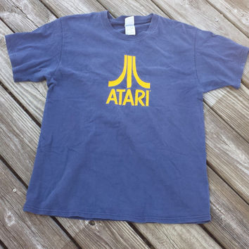 Vintage Atari Tee Shirt - Navy Blue with Yellow - Size M/L