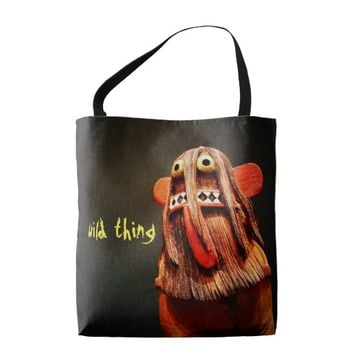 """Wild thing"" quote cute, funny face photo tote bag"