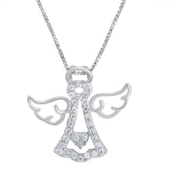 925 Sterling Silver Angel Necklace With Swarovski Zirconia