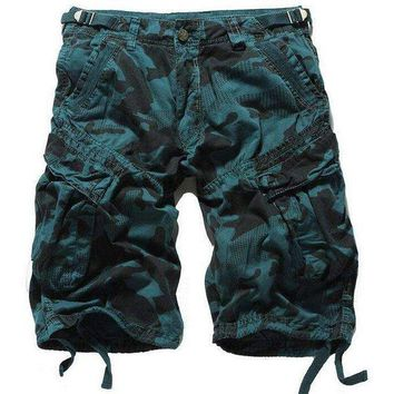 ONETOW 2016 summer style fashion brand Casual Shorts cotton men's Shorts straight loose Pockets Cargo shorts men army green camouflage