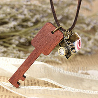 Christmas Gift, Camera Leather Necklace, Retro Wooden Key necklace, Vintage Style Brown Leather Crystal Camera Necklace  N-37