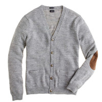 J.Crew Mens Slim Rustic Merino Elbow-Patch Cardigan Sweater