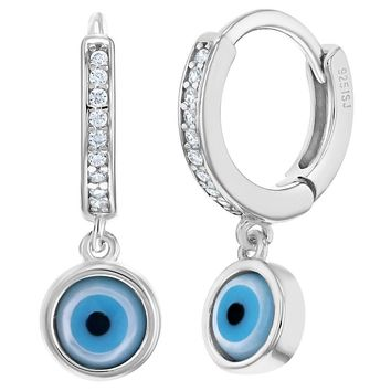 925 Sterling Silver Blue Evil Eye Greek Turkish Nazar Kabbalah Hoop Charm Earrings