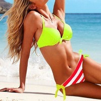 Sexy Summer Holiday Lime Halter Top & Striped Side-tie Bottom