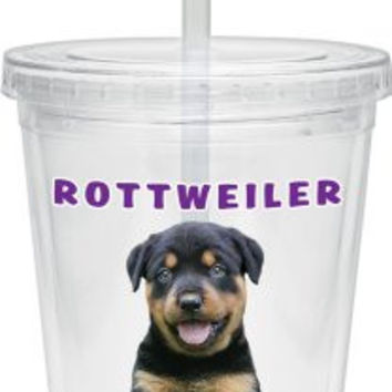 Culver Keith Kimberlin Insulated Plastic Tumbler with Twist Lid and Straw, 16-Ounce, Rottweiler