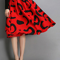Red Printed Midi Skirt