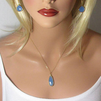 Chalcedony Necklace, Blue Chalcedony, Pendant, Double Sided, Drop Necklace, Teardrop Beads, Faceted Stone, Gold, Silver