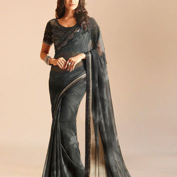 Murky Black Georgette Designer Saree With Embroidery Work On Border