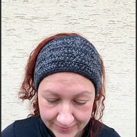 Black gray earwarmer,Knit Black ear warmer,Winter Crochet Head band,Gray ear warmer,Knit head accessory,Warm headband,Black winter headband