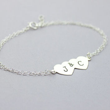 Heart Initial Bracelet. Personalized sterling silver Iove couple Jewelry. friendship Bracelet. Custom Letters.His and Her Initials