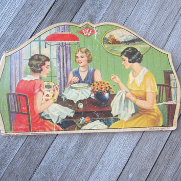 2 Vintage Needle Books - W Needle Card with Happy Housewife/Sewing Circle Illustration + Vintage Sears Fine Needlework