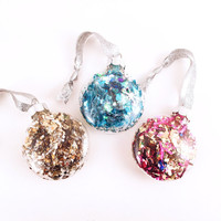 Confetti Ornament - Round Pink, Blue, Gold, Silver Ornaments - Christmas Decorations // Holiday Decor