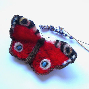 Peacock felt butterfly brooch / wool / needle felt / red / blue / black / brown / yellow / white / copper / swivel pin / insect brooch pin