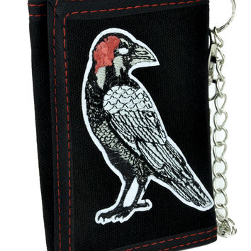 Death Raven Tri-fold Wallet with Chain Gothic Poetry Clothing