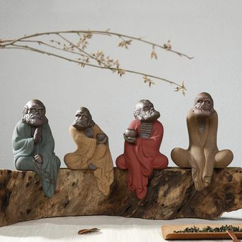 Creative Ceramic Products Dharma Crafts Home Office Zen Sand Weathered Wooden Ornaments Ru Kiln Buddha Statue Sculpture