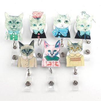 1Pcs 2017 Cute Cartoon Miss cat And Mr. cat Retractable Badge Reel Exihibiton ID Name Card Badge Holder Office Supplies
