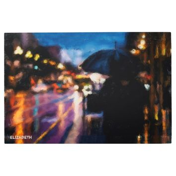 Lady With Umbrella In Rainy Night Moody Drawing Metal Photo Print
