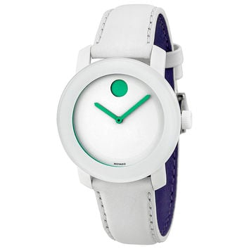 Movado Bold White Dial White Leather Strap Unisex Watch 3600154