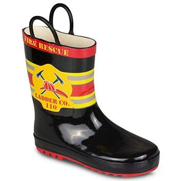 Boys Rain Boots Fireman Print Easy On, Toddler Size 5