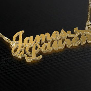 English Two Name Gold Plated Necklace
