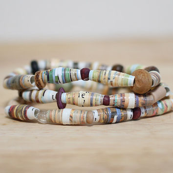 "Light Brown Recycled Paper Bead Bracelet Set, Made With ""The Cowboy and the black eyed pea"""