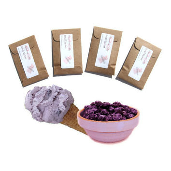 4 Huckleberry Ice Cream Scented Sachets - DIY Custom Favors - Sweet Creamy Fruit Scent - Purple Kraft Brown - Summer Small