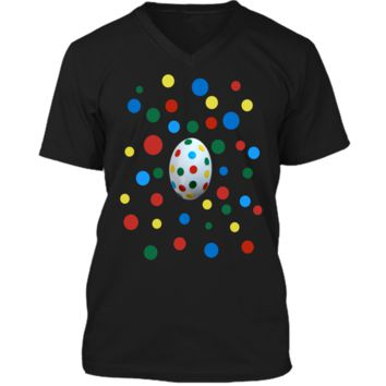 Easter Egg Polka Dots Now You See It Now You Dont Tee Mens Printed V-Neck T