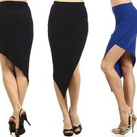 Sexy Solid Stretch Asymmetrical Hem Straight Pencil Bodycon Fitted Pleated Skirt