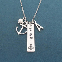 Personalized, Letter, Initial, Be still, White, Pearl, Anchor, Silver, Necklace, Gift, Jewelry