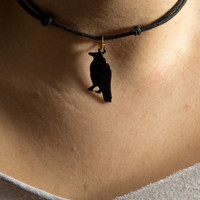 Adjustable Crow Necklace with Gold bead