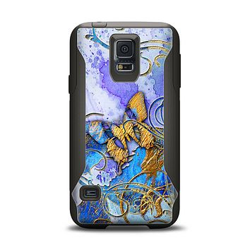 The Blue Bright Watercolor Butter-Floral Samsung Galaxy S5 Otterbox Commuter Case Skin Set